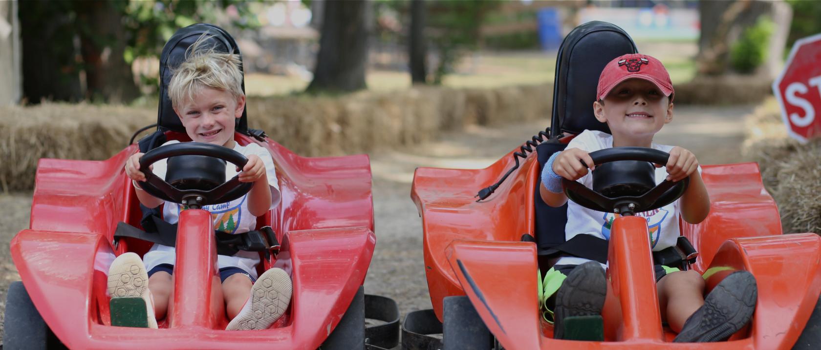 Camper driving go-karts