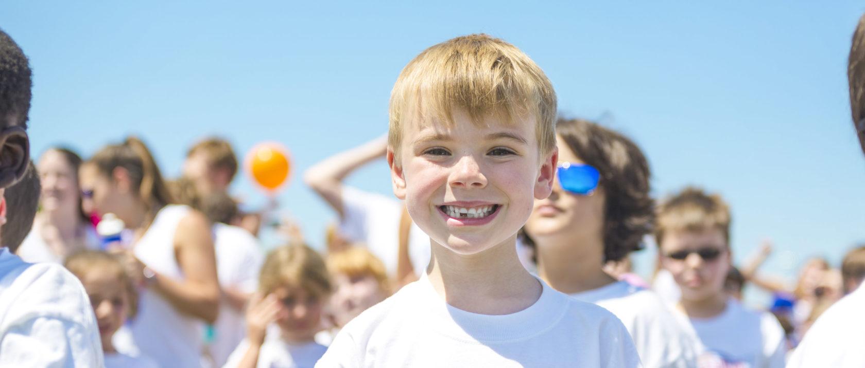 Boy camper smiling