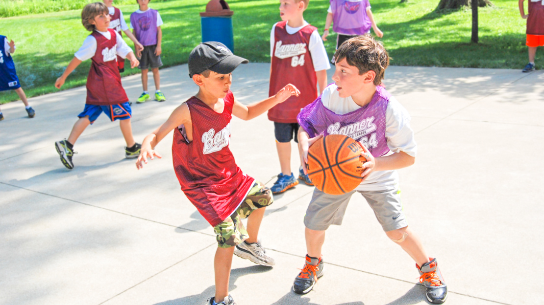 Campers playing basketball
