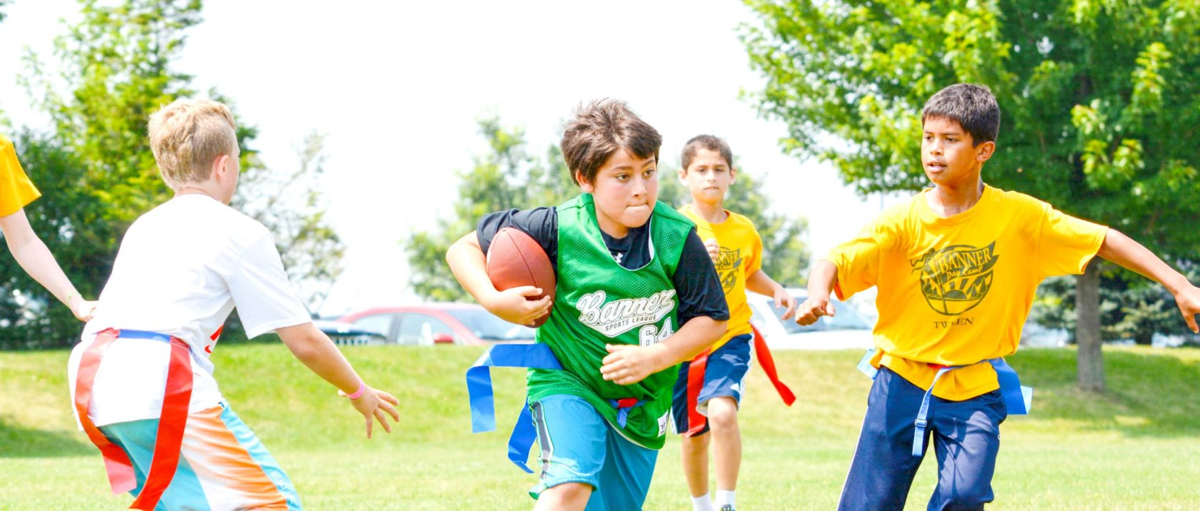 Campers playing flag football