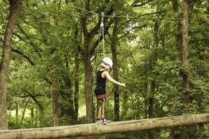 girl on high ropes course