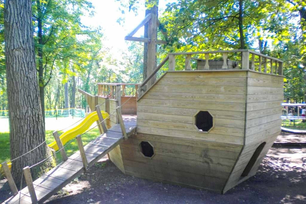 A wooden pirate ship