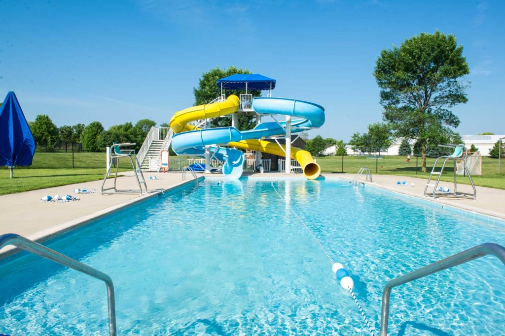 the waterslides at the pool