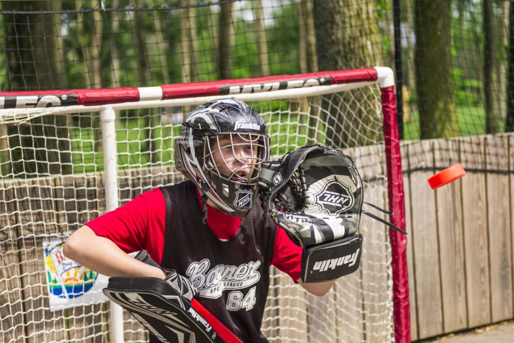 a goalie for a game of street hockey