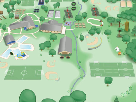 Illustrated map of Banner Day Camp facilities