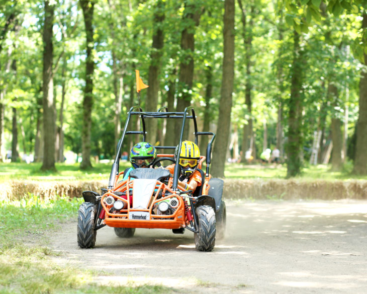 Campers ride in a dune buggy