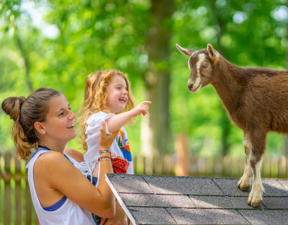 Female counselor with young camper at the farm